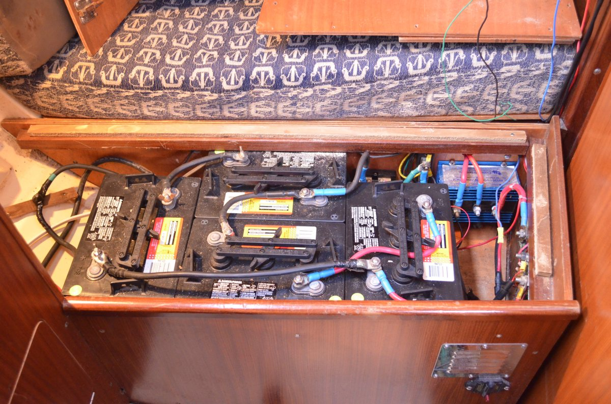 The new heart of our boat. DC 440 amps for the House Battery! Not only high amps but very heavy duty 6 volt batteries (golf cart)  combined in series, something I knew I had to do for years but could never justify the cost.  Now no option.
